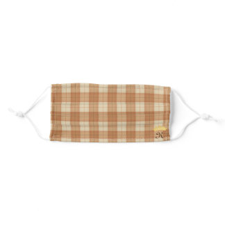 Pretty Brown Tartan Personalized Crowned Monogram Adult Cloth Face Mask