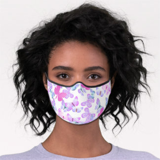 Pretty Butterfly Pattern Pink Lilac Watercolor  Premium Face Mask