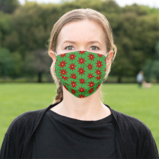 Pretty Christmas Red Poinsettia Flowers Adult Cloth Face Mask