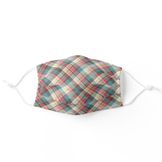 Pretty Country Teal Pink Brown Plaid Pattern Adult Cloth Face Mask