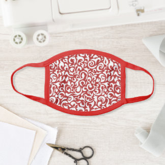 Pretty Festive Holiday Red White Paisley Face Mask