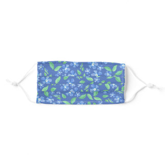 Pretty Floral Periwinkle Design on Blue Adult Cloth Face Mask