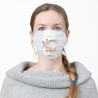 Pretty Floral Roses White And Gray Stripes Elegant Adult Cloth Face Mask