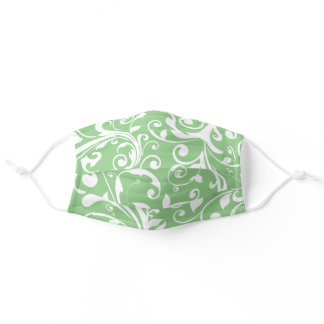 Pretty Green Floral Swirl Adult Cloth Face Mask
