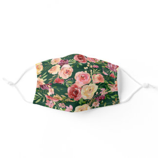 Pretty Green Peony Floral Adult Cloth Face Mask