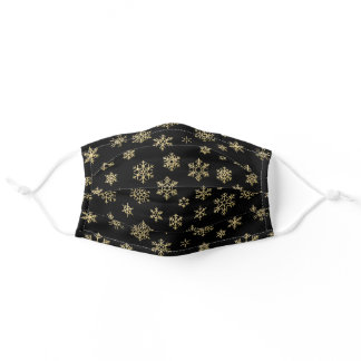 Pretty Holiday Snowflake Pattern Black Gold Adult Cloth Face Mask