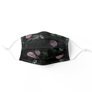 Pretty Hummingbird Flower Vine Pink Roses On Black Adult Cloth Face Mask
