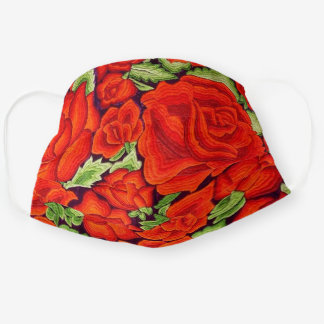Pretty Mexican Floral Embroidery Image of Roses Cloth Face Mask