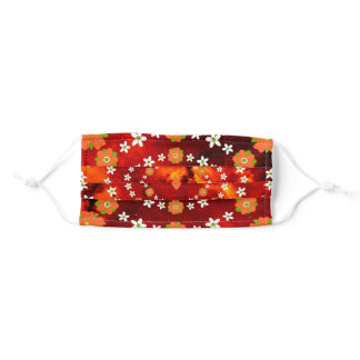 Pretty Orange and Green Garden Flowers Christmas Adult Cloth Face Mask