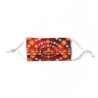 Pretty Orange and Green Garden Flowers Christmas Kids' Cloth Face Mask