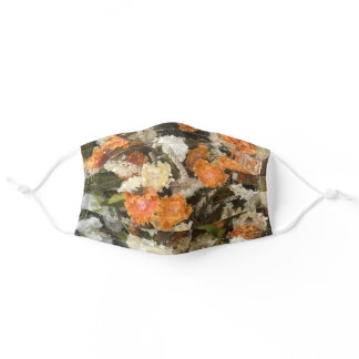 Pretty Orange Fall Floral Pattern Personalized Adult Cloth Face Mask