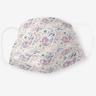 Pretty pastel pink floral paisley pattern cloth face mask