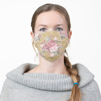 Pretty Pink and Faux Gold Glitter Floral Adult Cloth Face Mask