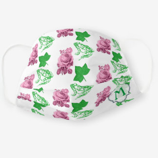 Pretty pink and green cloth face mask