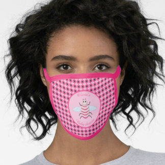 Pretty Pink Baby Girl Bee Baby Shower Custom Face Mask