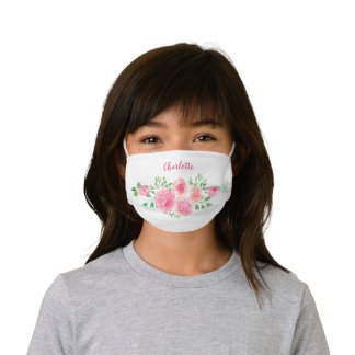 Pretty Pink Floral Girl's Name Kids' Cloth Face Mask