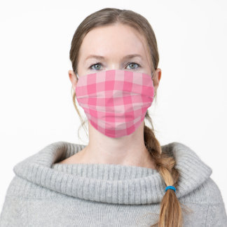 Pretty Pink Gingham Monotone Pattern Adult Cloth Face Mask
