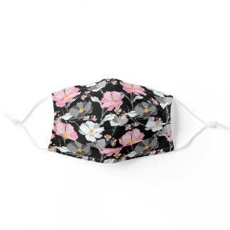 Pretty pink gray wild flowers girly floral pattern adult cloth face mask