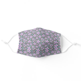 Pretty Pink & Grey Floral Adult Cloth Face Mask