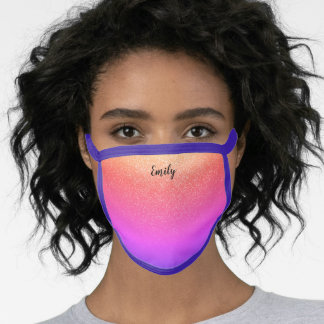 Pretty Pink Purple  Ombre Girly Glitter Your Name Face Mask
