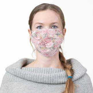 Pretty Pink Rose Flower Damask Patterned Adult Cloth Face Mask