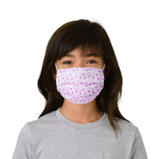 Pretty Purple and Pink Princess Hearts Pattern Kids' Cloth Face Mask