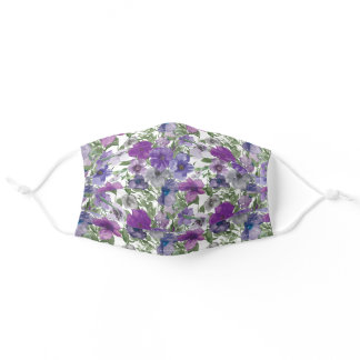 Pretty Purple Violets Flowers Adult Cloth Face Mask