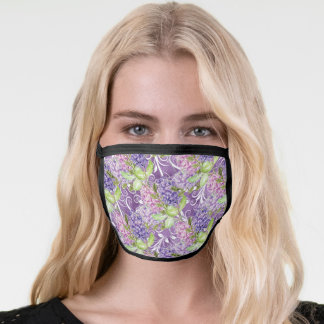 Pretty Purple Watercolor Lilac Flowers Patterned Face Mask
