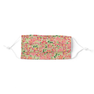 Pretty Red Clematis Pattern on Taupe Adult Cloth Face Mask