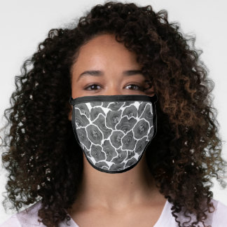 Pretty Roses Beautiful Floral Pattern Gray White Face Mask