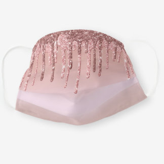 Pretty stylish girly pink rose gold glitter drips cloth face mask