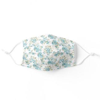 Pretty Teal Blue Sage Green Floral Watercolor Art Adult Cloth Face Mask