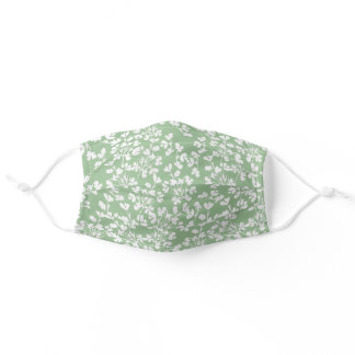 Pretty White Flowers Cute Pattern For Her Floral Adult Cloth Face Mask