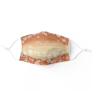 Pretty White Watercolor Wildflowers on Rust Adult Cloth Face Mask