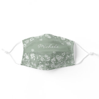 Pretty White Watercolor Wildflowers on Sage Green Adult Cloth Face Mask