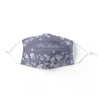 Pretty White Watercolor Wildflowers on Stormy Blue Adult Cloth Face Mask