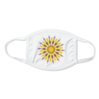 Pretty yellow and purple «fluffy» Mandala. Face Mask