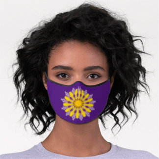 Pretty Yellow and Purple «Fluffy» Mandala. Premium Face Mask