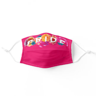 Pride Bright Rainbow Gradient Floral Graphic Pink Adult Cloth Face Mask
