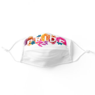 Pride Bright Rainbow Gradient Floral Graphic White Adult Cloth Face Mask