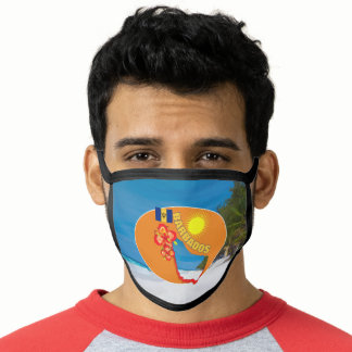Pride Of Barbados Flower & Map Sunny Graphic Face Mask