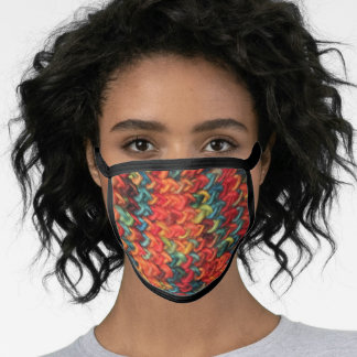 Printed, Faux knit colorful yarn face mask