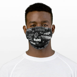 Programming languages black and white adult cloth face mask