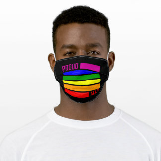PROUD ALLY FLAG LGBT Pride Month LGBTQ Rainbow Adult Cloth Face Mask