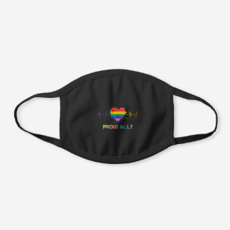 Proud Ally Gay Pride Lgbt Month Rainbow Black Cotton Face Mask