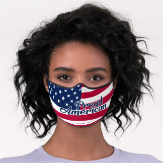 Proud American stars & stripes red blue white Premium Face Mask