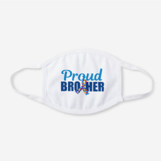 Proud Autism Brother White Cotton Face Mask