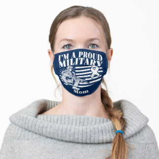 Proud Military Mom USA Veteran Adult Cloth Face Mask