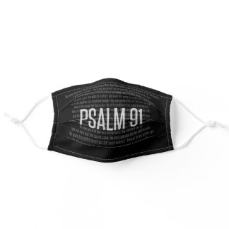 Psalm 91 Black and White Christian Face Mask