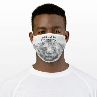 Psalm 91 Black and White Christian Lion Adult Cloth Face Mask